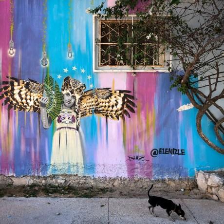 "Owl Princess, Playa del Carmen, 2019 (mural by Niz, ""Owl Girl, 2018"", Mexico)"