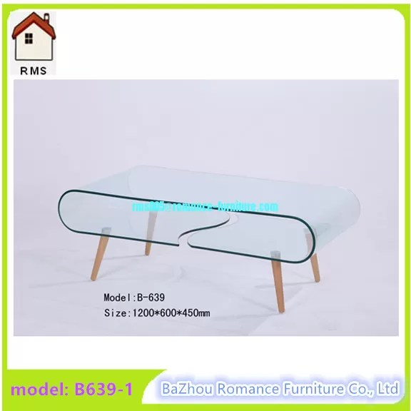 large hot bending glass coffee table wood legs coffee table center table b639 1