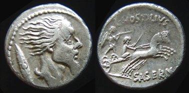 Moneda de la época romana con la cara del general Vercingétorix.