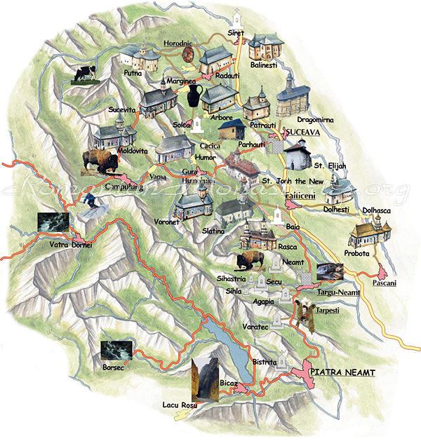 Harta Manastirile pictate din Bucovina