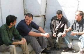 Rami Elchanan with Palestinian members of the Bereaved Families Forum, Mazen Faraj, Fadi Abu Awwad and Aziz Abu Sarah.
