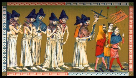 Flagellants in the Netherlands during the Black Death, 1349. They carry the image of Christ before them to aid their empathetic 'imitatio'.