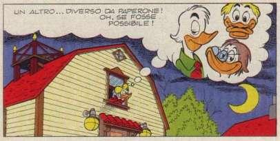 """In Zio Paperone e il casco d'oro (Topolino 1061, pagina 21) si nota chiaramente sul tetto, un simpatico segnavento a forma di testa di Paperone."""""""