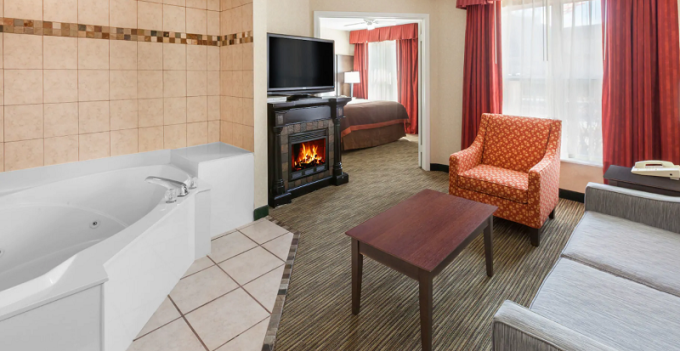 A Fireplace Jacuzzi suite in Hawthorn Suites by Wyndham Detroit Warren Hotel, Michigan