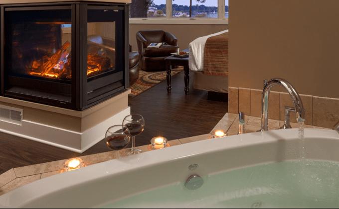 A Fireplace Whirlpool Tub Suite in The Hotel Saugatuck, Kalamazoo Lake Michigan
