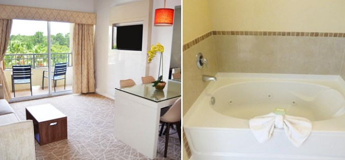 A suite with Whirlpool hot tub in The Point Hotel & Suites Universal Hotel, Orlando, FL
