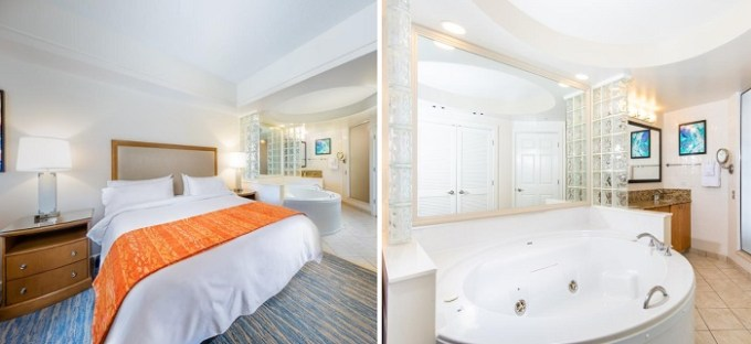 Suite with a whirlpool tub in Marriott's Cypress Harbour Villas Orlando, FL