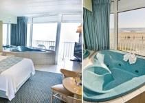 Oceanfront suite with Jacuzzi tub in the room in The Schooner Inn Virginia Beach