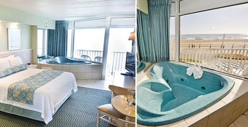 Oceanfront suite with Jacuzzi tub in the room in The Schooner Inn Virginia Beach