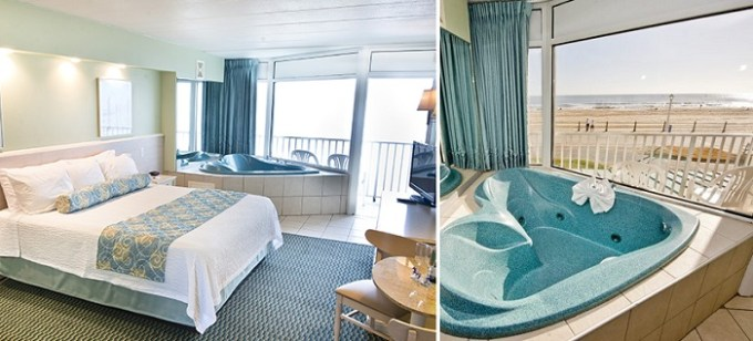 Oceanfront suite with jetted tub in the room in The Schooner Inn Virginia Beach