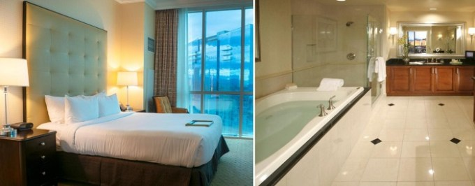 Suite with hot tub in the room in The Signature at MGM Hotel in Las Vegas