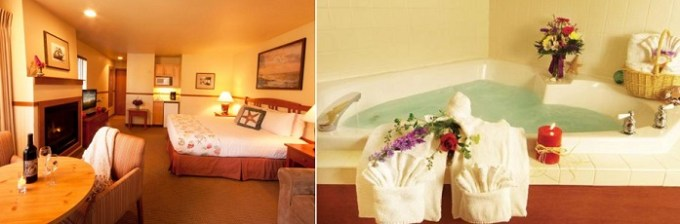 Deluxe room with a hot tub and fireplace in Inn at Cannon Beach, Oregon Coast