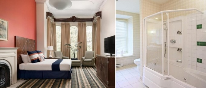 Suite with a whirlpool tub and a fireplace in the room in The Mansion on Delaware Avenue, Buffalo, NY