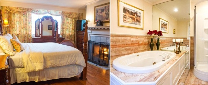 Jacuzzi suite with a fireplace in Chiltern Inn, Bar Harbor, Maine