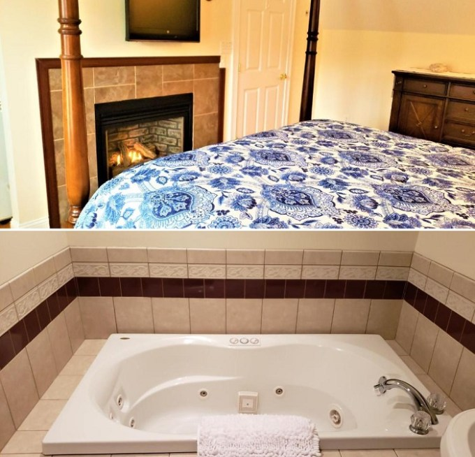 Jacuzzi suite with a fireplace in The Elmere House Bed and Breakfast of Wells, Maine