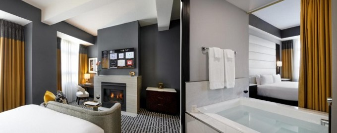 Hot Tub Suite with a fireplace in Hotel Metro, Autograph Collection, downtown Milwaukee, WI