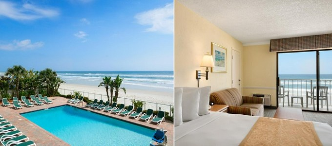 A Beachfront suite in Days Inn by Wyndham Daytona Oceanfront, near Orlando, FL