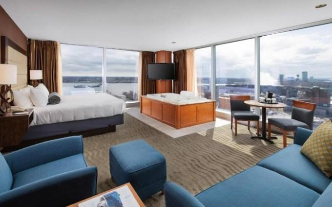 A Hotel suite with views of Niagara Fall in Seneca Niagara Resort & Casino, NY, USA