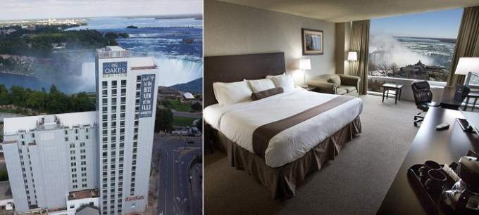 A Hotel suite with views of Niagara Fall in The Oakes Hotel Overlooking the Falls, Canada