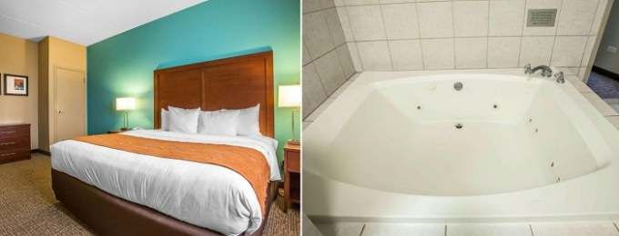 A Suite with a hot tub in the room in Comfort Suites Schiller Park - Chicago O'Hare Airport