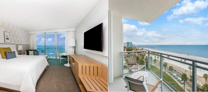 Beachfront hotel room in Wyndham Grand Clearwater Beach, near Orlando, FL