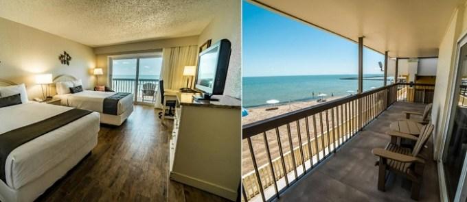 Beachfront room in Emerald Beach Hotel, Corpus Christi, Texas