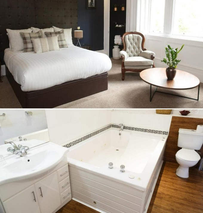A room with a hot tub in The Belhaven Hotel, Glasgow, Scotland