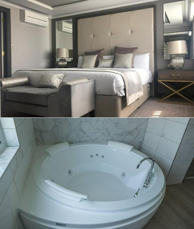 A suite with a hot tub in Riverside Lodge Hotel, near Glasgow, Scotland