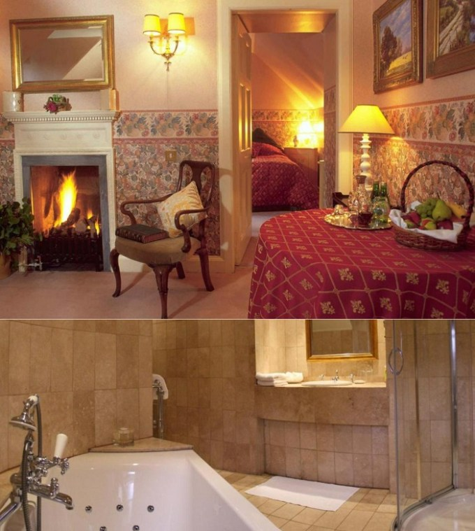 Hot tub suite in Roman Camp Country House Hotel, near Glasgow, Scotland