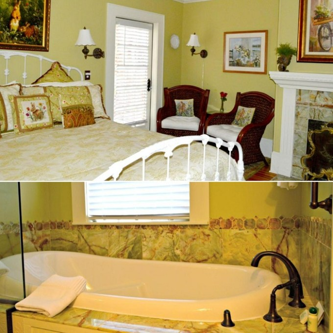 Jacuzzi suite with a fireplace in Pettigru Place Bed & Breakfast, Greenville, SC
