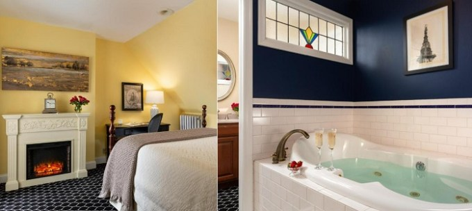 a Jacuzzi suite with a fireplace in Cornerstone Bed & Breakfast, Philadelphia, PA