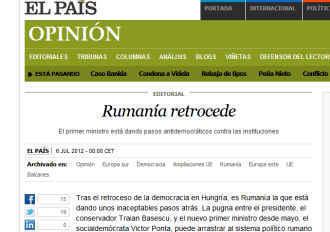 """El Pais: """"Romania da inapoi"""""""