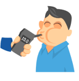 man using breathalyzer cartoon