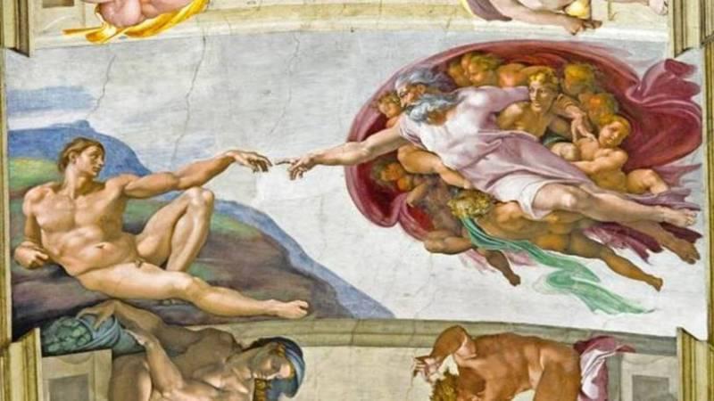 A criação de Adão no Teto da Capela Sistina