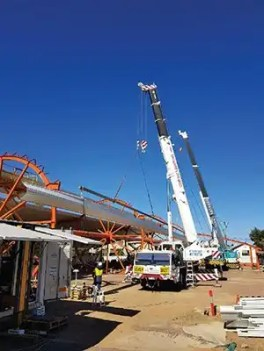 Cranes being used on the job at Roma Transport Services