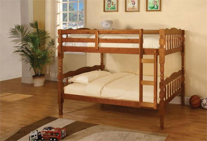 Oak Twin Bunk Bed With 2 Mattress Package