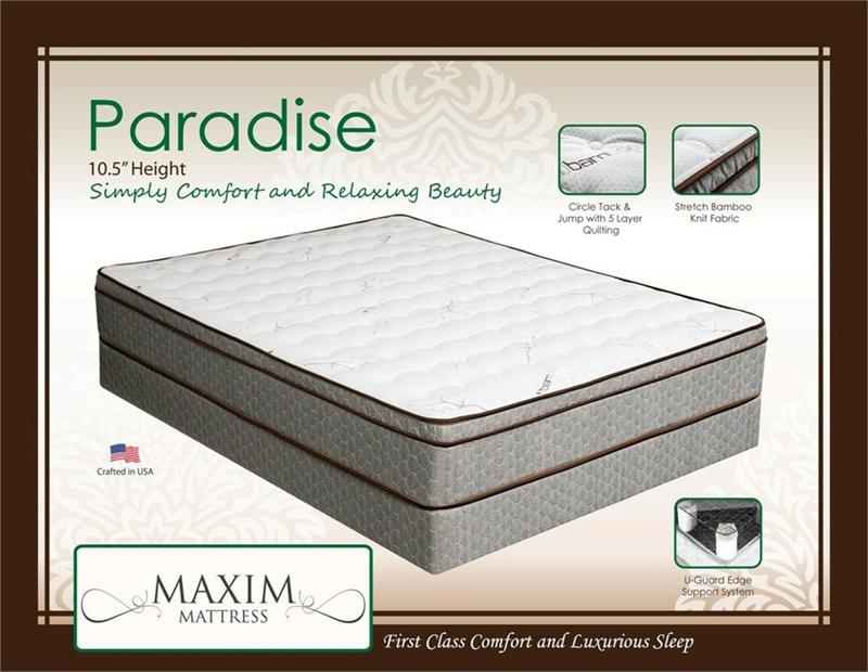 Paradise Euro Pillow Top Mattress By Maxim Mattress