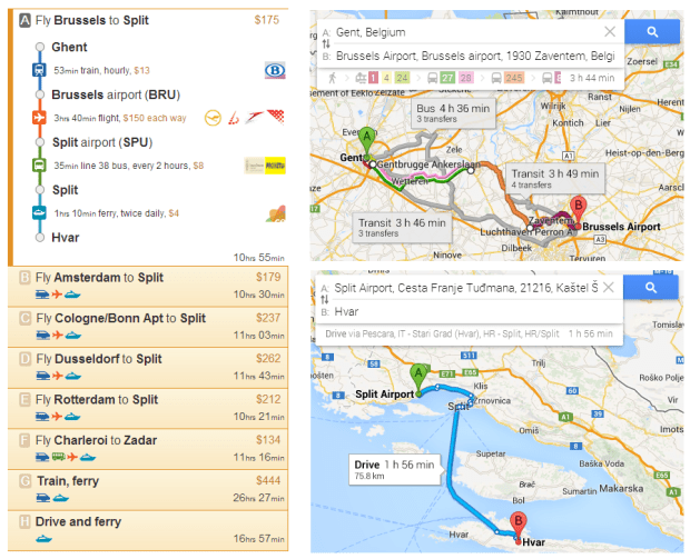 Brussels to Hvar: Rome2rio (left) offers comprehensive transport coverage whilst Google Maps (right) does not know about the direct train to Brussels airport or the bus to Split, and provides limited information about the Hvar ferry