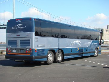 Greyhound bus exterior (USA).