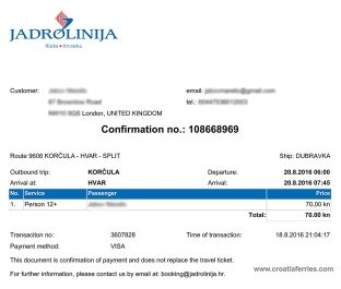 Jadrolinija booking confirmation