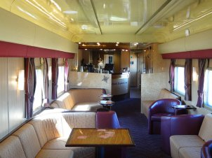 Meals in the dining car of the Indian Pacific