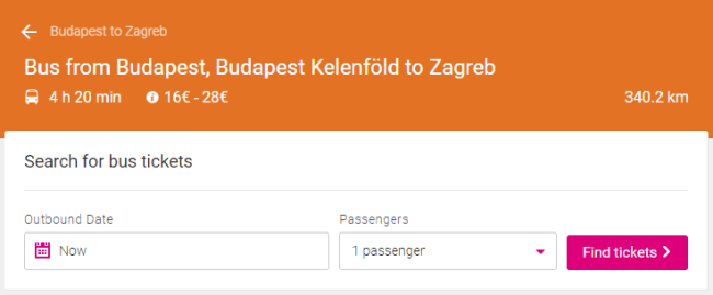 Budapest to Zagreb by bus