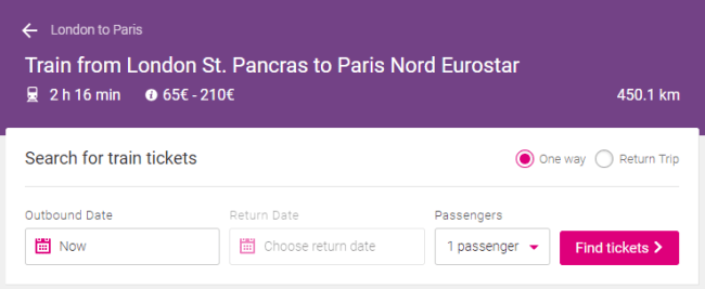 London to Paris by train