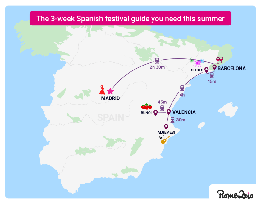 Map of Spain summer festivals