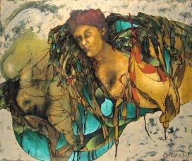 Pájaros de cera - óleo sobre lienzo - 100 x 120 cm