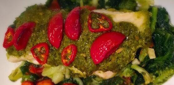 Pesto Topped Basa Fillets