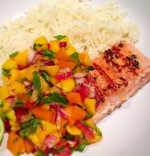 Garlic Salmon with Mango Salsa