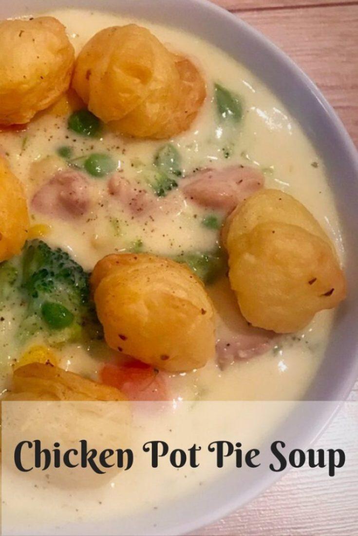 Pinterest style image of chicken pot pie