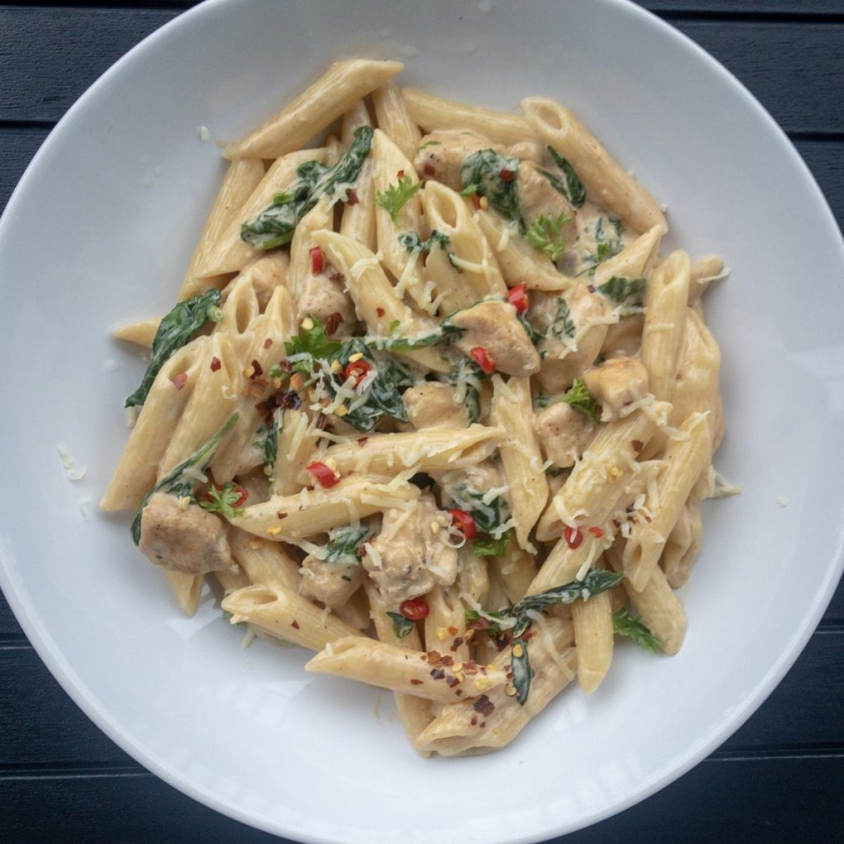Cajun Chicken and spinach pasta ready to serve