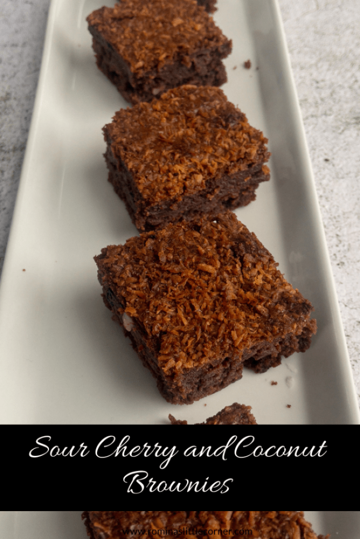 Pinterest image for sour cherry and coconut brownies
